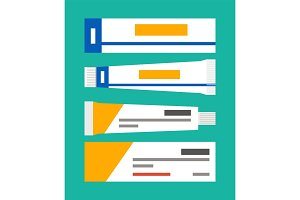 Ointment in Tubes Collection Vector