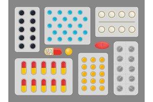 Medicine Capsules Blister Set Vector
