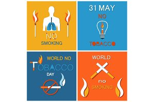 World No Tobacco Day Banners Set
