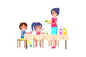 Family Picnic Mother and Kids Vector