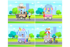 Coffee Stalls Street Service Vector
