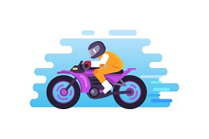 Racer Riding Motorbike Logo Isolated