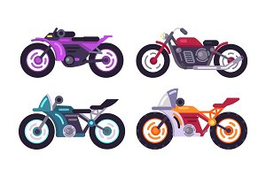 Set of Sportive Bikes Isolated