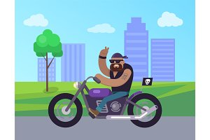 Motorcycle Man Riding in City Vector