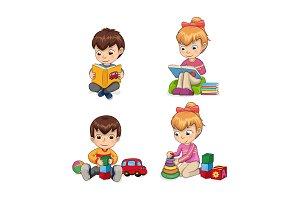 Attentive Children Reading Vector