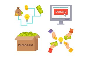 Crowdfunding and Donate Set Vector