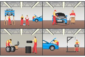 Set of Automobile Workshop Vector