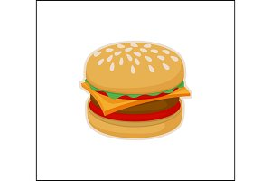 Burger Icon Template Isolated on