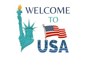 Welcome to USA Statue Flag Vector