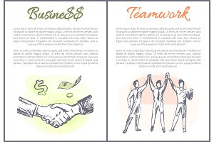 Business and Teamwork Posters Vector