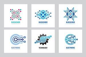 Blockchain Electronic Logo Set