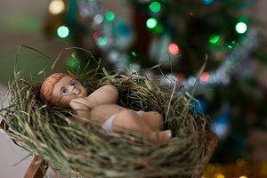 New born baby Jesus Christ as crib f