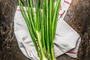 Green onions bunch on rustic wooden