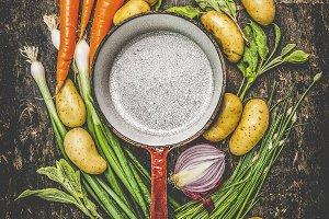 Vintage pot and vegetables