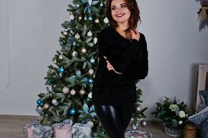 Girl wear on black background new ye