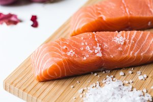 Salmon fillets prepared for cooking