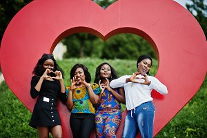 Group of four african american girls