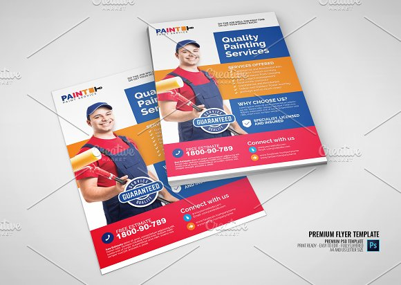 commercial painting service flyer flyer templates creative market