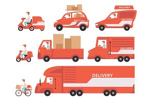 Red delivery vehicles set, express