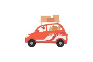 Red cargo delivery car with