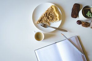 Journaling with cake and coffee