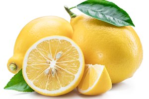 Lemon fruits and lemon slices on whi