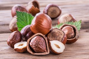 Hazelnuts and hazelnut leaves on the