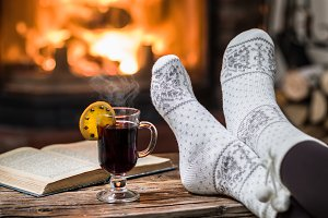 Warming and relaxing near fireplace