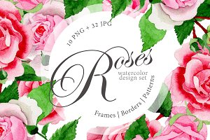 Pink roses PNG watercolor design set