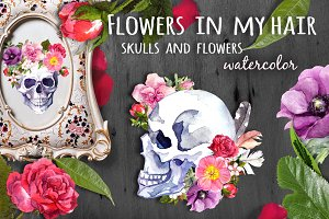 Skulls&flowers. Watercolor