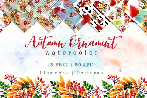 Cool autumn ornament PNG watercolor