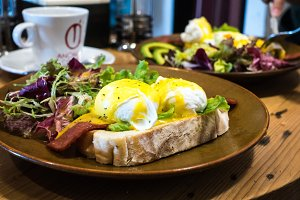 Delicious poached eggs with bacon
