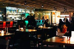 Restaurant interior in the evening