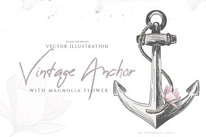 VINTAGE ANCHOR with magnolia flower