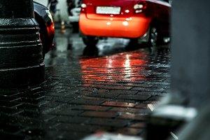 macro shot of wet city street floor
