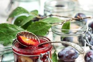 Plums marmalade in jar Fruit jam