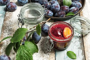Plums marmalade in jar Fruit jam