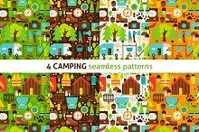 Camping Flat Seamless Patterns