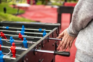 close up table soccer foosball with