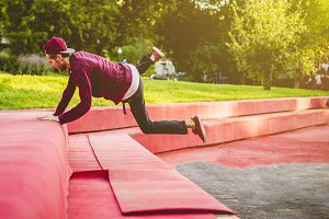 outdoor city parkour practice jumpin