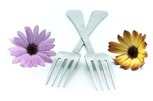 fork with flowers