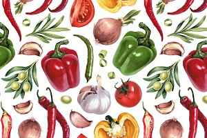 Vegetables illustrations kit