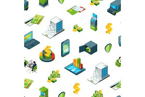 Vector isometric money in bank icons