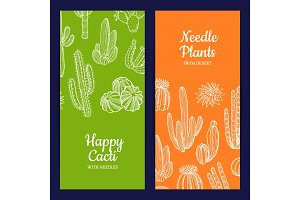 Vector hand drawn cacti plants web