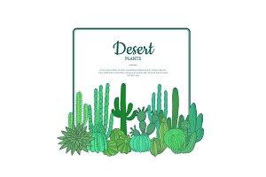 Vector hand drawn cacti plants