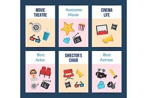 Vector flat cinema icons card set