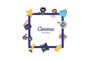 Vector flat cinema icons frame
