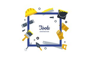 Vector flat construction tools frame
