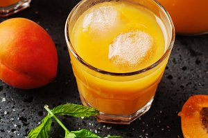 Fresh sweet apricot juice