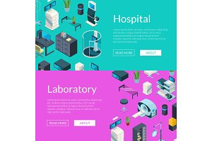 Vector isometric hospital icons web
